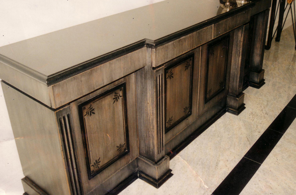 Royal Furniture Refinishing -- Toronto -- Repairs, restorations and refinishing services - Lacquer finish with hand-painted designs.
