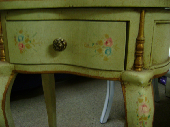Royal Furniture Refinishing -- Toronto -- Repairs, restorations and refinishing services - Crackle finish with hand-painted floral designs.